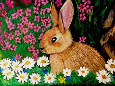 Painting - Baby Bunny In The Garden At Night by Renee Michelle Wenker