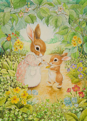 Clover Painting - Baby Bunny by Lynn Bywaters