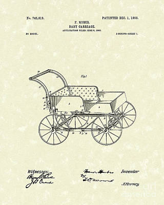 Stroller Drawing - Baby Carriage 1903 Patent Art by Prior Art Design