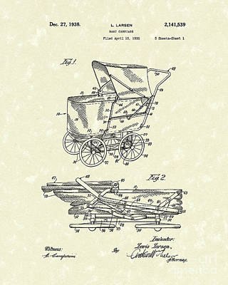 Stroller Drawing - Baby Carriage 1938 Patent Art by Prior Art Design