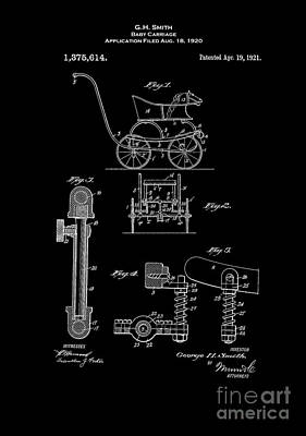 Retro Digital Art - Baby Carriage Patent 1921 Inverted by Lesa Fine