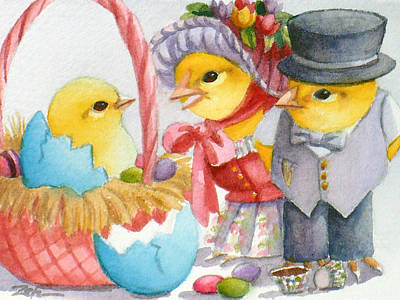 Painting - Baby Chick Easter Surprise by Janet  Zeh