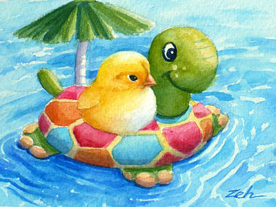 Painting - Baby Chick In A Swimming Pool by Janet  Zeh