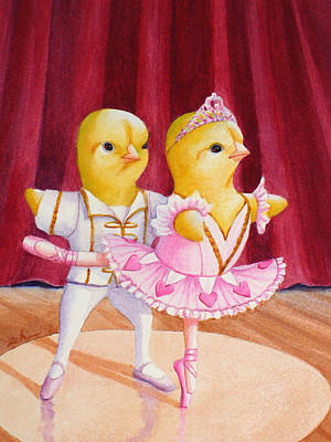 Painting - Baby Chicks Ballet by Janet Zeh