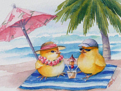 Painting - Baby Chicks On Waikiki Beach by Janet Zeh