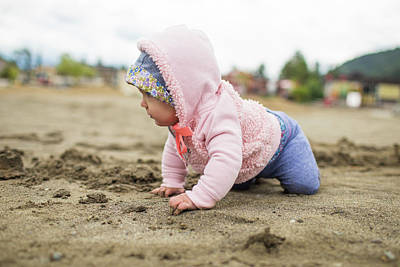 Harrison Hot Springs Wall Art - Photograph - Baby Crawling On Sandy Beach, Harrison by Christopher Kimmel
