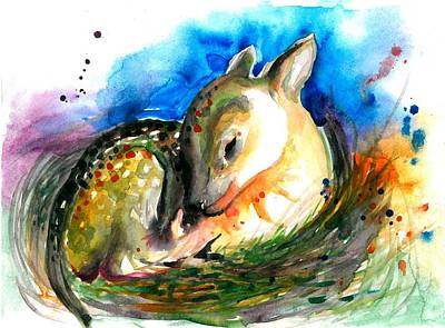 Malerei Painting - Baby Deer Sleeping - After My Original Watercolor On Heavy Paper by Tiberiu Soos