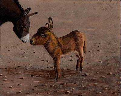 Baby Donkey And Mama Original by Jean Anne Baldwin