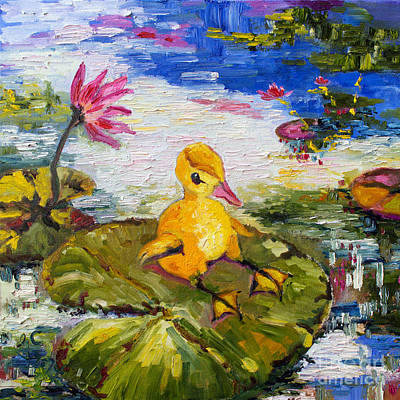 Painting - Baby Duck On Lily Pad Lazy Summer by Ginette Callaway
