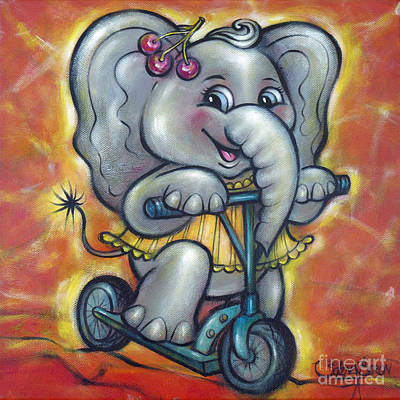 Painting - Baby Elephant 101011 by Selena Boron
