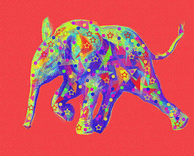 Digital Art - Baby Elephant Abstract by Jane Schnetlage