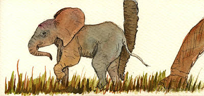Mom Painting - Baby Elephant by Juan  Bosco