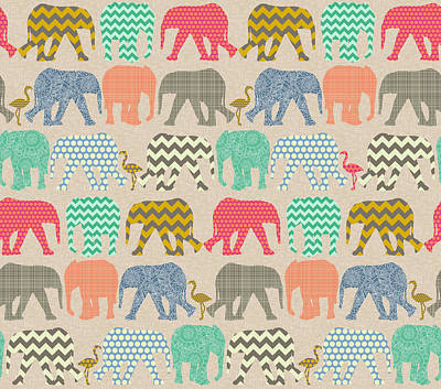 Pattern Drawing - Baby Elephants And Flamingos Linen by Sharon Turner