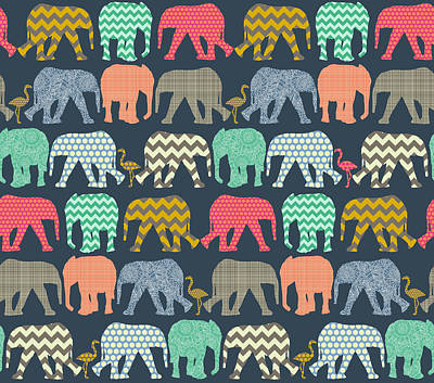 Pattern Drawing - Baby Elephants And Flamingos by Sharon Turner