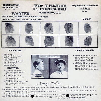 Baby Face Nelson Wanted Poster, 1934 Art Print by Science Source