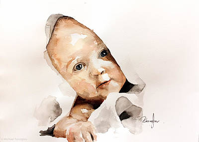 Portraits Painting - Baby Faces by Michael Tsinoglou
