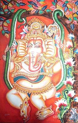 Painting - Baby Ganesha Swinging On A Snake by Jayashree