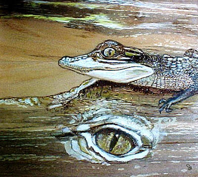 Alligator Mixed Media - Baby Gator On Momma by Jeanie Beline