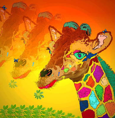 Friendly Digital Art - Baby Giraffe 2a by Joyce Dickens