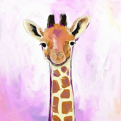 Purple Photograph - Baby Giraffe  by Cathy Walters