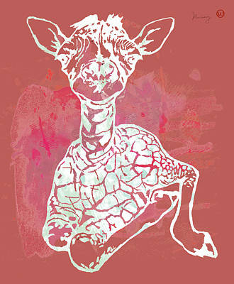 Family Of Colors Drawing - Baby Giraffe -  Pop Modern Etching Art Poster by Kim Wang