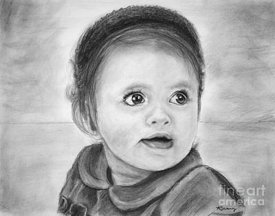 Drawing - Baby Girl Commissioned Portrait by Kate Sumners