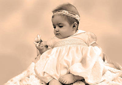 Pierced Ears Photograph - Baby Girl Holding Flower Sepia by Sally Rockefeller