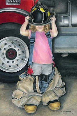 Fire Truck Drawing - Baby Girl by Jodi Monroe