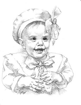 Drawing - Baby Girl. Stippling. Commission. by Alena Nikifarava