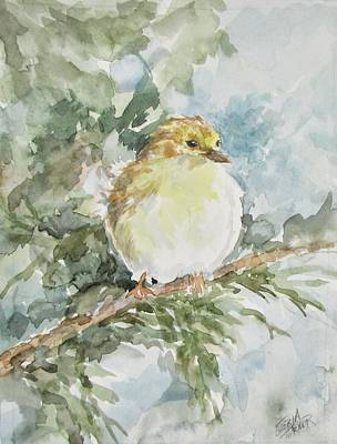 Painting - Baby Goldfinch by Gloria Turner