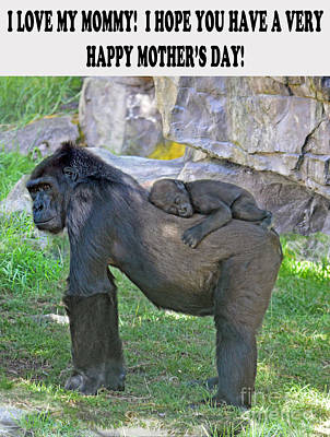 Photograph - Baby Gorilla Sleeping On Mommys Back Mother's Day Version by Jim Fitzpatrick