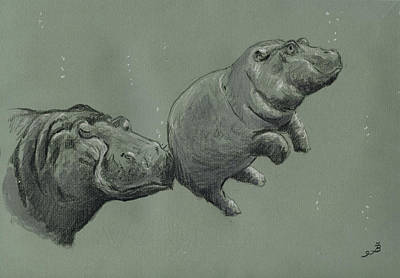 Deep River Painting - Baby Hippo by Juan  Bosco