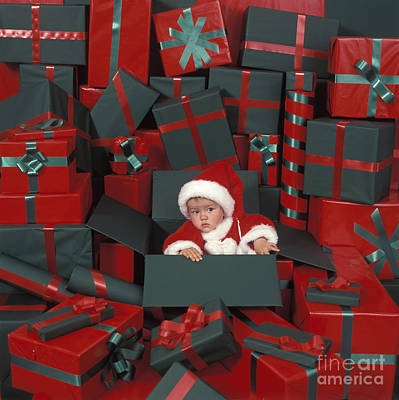 Baby In Christmas Box Print by Picture Partners