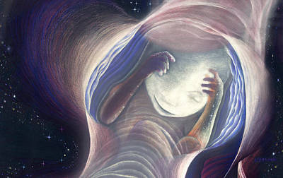 Near Death Experience Drawing - Baby In The Journey by Robin Aisha Landsong