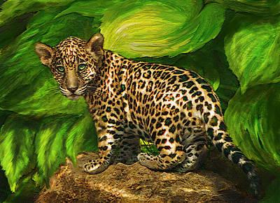 Rain Forest Digital Art - Baby Jaguar by Jane Schnetlage