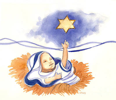 Painting - Baby Jesus And The Star by Audrey Peaty