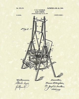 Drawing - Baby Jumper 1903 Patent Art by Prior Art Design