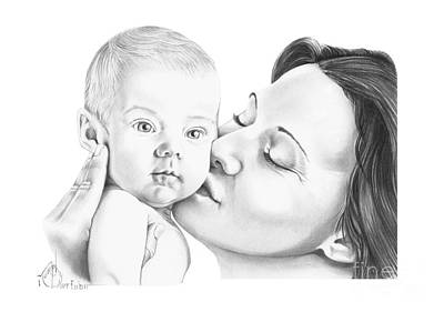 Drawing - Baby Kiss by Murphy Elliott