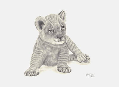 Art Print featuring the drawing Baby Lion by Patricia Hiltz