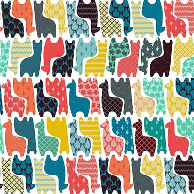Damask Drawing - Baby Llamas by Sharon Turner