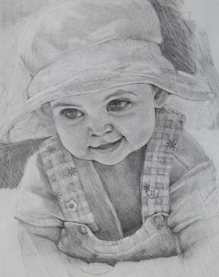 Drawing - Baby Meg by Jani Freimann