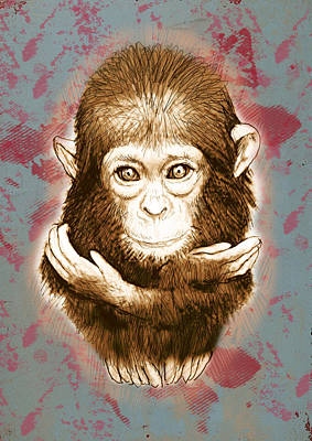 Ape Mixed Media - Baby Monkey - Stylised Drawing Art Poster by Kim Wang
