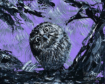 Featured Painting - Baby Owl by Alys Caviness-Gober