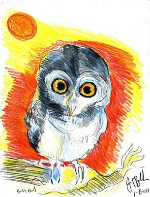 Baby Owl  Art Print by Jon Baldwin  Art