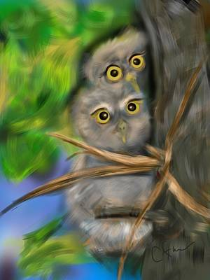 Art Print featuring the digital art Baby Owls by Christine Fournier