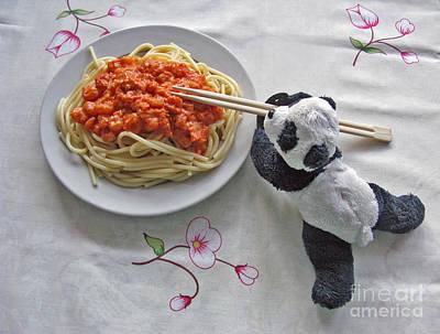 Photograph - Baby Panda Tasting Spaghetti  by Ausra Huntington nee Paulauskaite