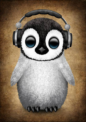 Penguin Digital Art - Baby Penguin Dj With Headphones by Jeff Bartels