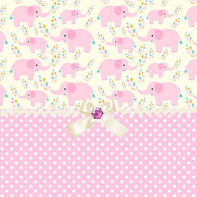 Shower Digital Art - Baby Pink Elephants by Debra  Miller