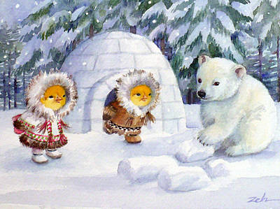 Painting - Baby Polar Bear by Janet  Zeh