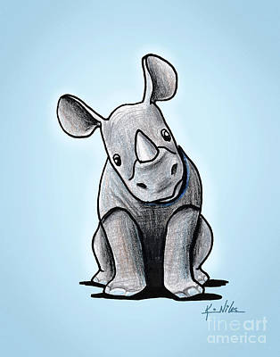 Rhinoceros Mixed Media - Baby Rhino by Kim Niles